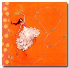 CARTES D'ART > BOISSONNARD Gaëlle > CARTES SIMPLES 14x14cm > BOISSONNARD La fille la lune et les étoiles - e-mages - La carterie d art