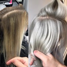 From overtoned-patchy-brassy balayage to the ice quenn 😎 I used in each bowl bleach i mixed, including my toner 🖤… Silver White Hair, Silver Blonde, Color Ceniza, Ice Blonde Hair, Grey Ombre Hair, Gray Hair Growing Out, Hair Color And Cut, Bleached Hair, Balayage Hair