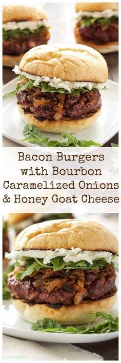 Bacon Burgers with Bourbon Caramelized Onions & Honey Goat Cheese + A SABER Grills Giveaway! Bourbon, bacon, and goat cheese, what more do you need in a burger recipe? Gourmet Burgers, Burger Recipes, Beef Recipes, Cooking Recipes, Healthy Recipes, Cooking Food, Burger Toppings, Fancy Dinner Recipes, Beef Burgers