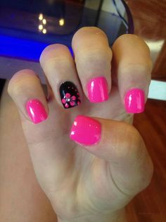 Are you looking for nails summer designs easy that are excellent for this summer? See our collection full of cute nails summer designs easy ideas and get inspired! summer nails 69 FRESH SUMMER NAIL DESIGNS FOR 2019 Get Nails, Fancy Nails, Trendy Nails, How To Do Nails, Hot Pink Nails, Pink Summer Nails, Bright Nails For Summer, Summer Shellac Nails, Pink Black Nails