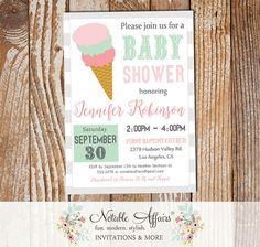 Modern Ghost Mint Light Pink Ice Cream Cone Sweet Dessert Baby Shower Invitation - heres the scoop - ice cream sundae party shower invite by NotableAffairs
