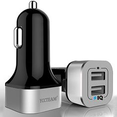 YCCTEAM 24W Dual USB Car Charger Adapter for iPhone 7  6s  Plus iPad Pro  Air 2  mini Galaxy S7  S6  Edge  Plus Note 5  4 LG Nexus HTC and More Silvery * You can find more details by visiting the image link.
