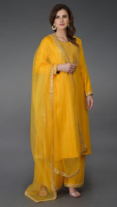 Sunglow Yellow Gota Sequin & Pearl Beads Farshi Palazzo Suit