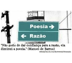"Sempre Manoel de Barros..... ""i don't like to put confidence in reason, it diminishes the poetry"""