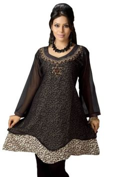 Black Georgette Flair style Kurti Indian Tunic $63.85