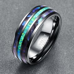 Top Grade Inlay Abalone Shell Opal Tungsten Steel Rings for Men Width Elegant Smooth Mens Party Wedding Ring Tungsten Carbide Rings, Titanium Rings, Blue Rings, Opal Rings, Wedding Ring Designs, Wedding Rings, Tungsten Wedding Bands, Stainless Steel Rings, Engraved Rings