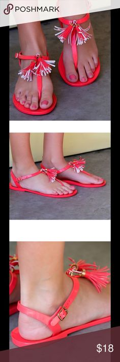 Brand New Coral Fringe-Accent Sandal Vibrant and bold, these chic sandals lend a stand-out statement to your look. Boho-chic fringe accents at the ankle keep your look casual. White Plum Shoes Sandals