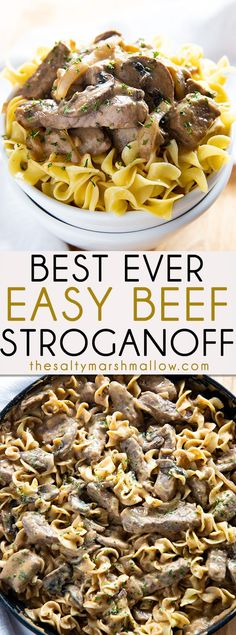 Easy Homemade Beef Stroganoff - The absolute best mouthwatering beef stroganoff recipe! This traditional stroganoff is so easy to make and a classic family favorite dinner! #beef #beefstroganoff #easybeefstroganoff #thesaltymarshmallow