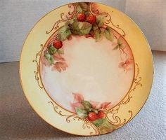 Jean Pouyat (JPL) Limoges Hand Painted Cabinet Plate w/Red Raspberry Motif - 5 of 6 Plates