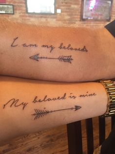 """Our first tattoos:  """"I am my beloved's and my beloved is mine..."""" The Song of Solomon 6:3 ESV  http://bible.com/59/sng.6.3.esv   #HisHersMatchingTattoos"""