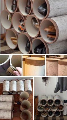 rangement-chaussures-original-tubes-plastique-poncés-décorés