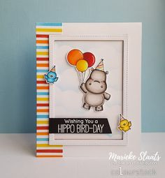 """By Marieke Slaats.  Stamps from """"Happy Hippos"""" by My Favorite Things."""