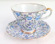 Vintage Lefton China Handpainted Chintz Pattern Teacup and Saucer Tea Party Cottage Style Tea Gathering