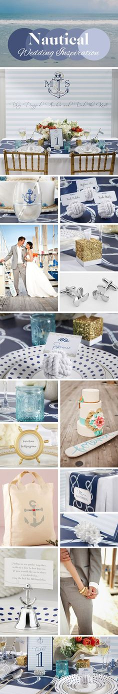 Decorate your lakeside wedding with nautical decorations and supplies featuring seaside decor such as anchors, ropes, sailboats and more. Create the perfect palette with shades of blue and white and a hint of sparkle Nautical Wedding Inspiration, Nautical Wedding Theme, Nautical Party, Wedding Themes, Wedding Decorations, Wedding Ideas, Nautical Colors, Vintage Nautical, Themed Weddings