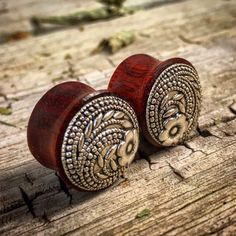 """Organic Tranquil Floral Bloodwood Plug Gauges for stretched Ears Sizes 5/8"""" (16mm) 11/16"""" (17.5mm)"""