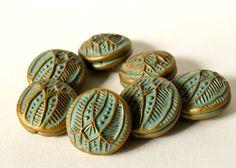 Intricate Geometric Art Beads in Grayed Jade and Bronze/Gold