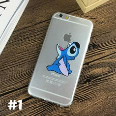 Cute DISNEY Stitch Apple IPhone Cases, Clear Soft TPU Phone Case For IPhone 7 7 Plus, IPhone 6 6s, IPhone 5 5s, Gift For Her