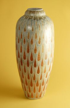 """Tear Drop Vase 11""""x5""""x5""""  - Porcelain with Slip Decoration Wood-Fired Cone 10"""