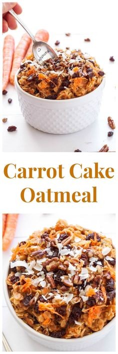 Carrot Cake Oatmeal Oatmeal that tastes like carrot cake! Who doesn't love dessert for breakfast? Breakfast And Brunch, Breakfast Dishes, Healthy Breakfast Recipes, Brunch Recipes, Breakfast Ideas, Healthy Recipes, Dinner Healthy, Healthy Foods, Fast Metabolism Recipes