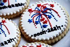 of July Party Ideas: Fireworks cookies. of july royal icing cookies) Summer Cookies, Fancy Cookies, Cut Out Cookies, Iced Cookies, Royal Icing Cookies, Holiday Cookies, 4th Of July Party, Fourth Of July, Galletas Cookies