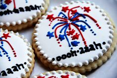 of July Party Ideas: Fireworks cookies. of july royal icing cookies) Summer Cookies, Fancy Cookies, Iced Cookies, Royal Icing Cookies, Holiday Cookies, Cupcake Cookies, Cupcakes, 4th Of July Party, Fourth Of July