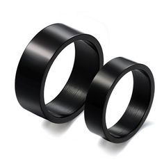 Cool Black Titanium Steel Promise Ring for Couples