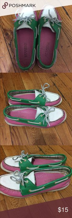 Sperry Top-Sider Have had for a few years but haven't worn in at least two seasons. Pretty good condition. The white parts are a bit dirty but has cleaned easily as I wipe them down. Insoles are pretty intact, they're starting to peel up a tiny bit. Sperry Top-Sider Shoes