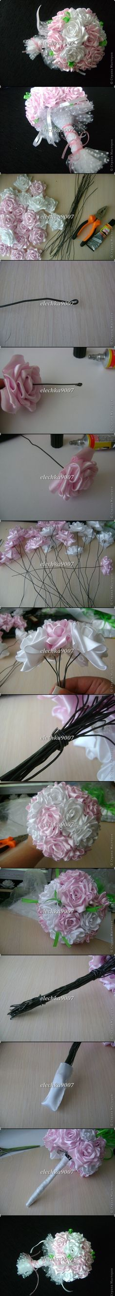 How to make a ribbon bouquet Ribbon Art, Diy Ribbon, Fabric Ribbon, Ribbon Crafts, Flower Crafts, Fabric Bouquet, Ribbon Bouquet, Diy Bouquet, Rose Bouquet