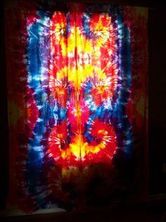 Tie dye curtains. We used bestdye.com colors. Tie Dye Curtains, Tie Dye Colors, Hippie Bohemian, Hippy, Tie Dye Skirt, Bleach, Bedroom Decor, Fabric, Pattern