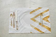 goldener Tischläufer selber machen Ideen