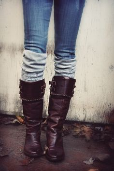 Boots and leg warmers. This is perfect on cold days such as a wet, windy February day.