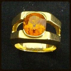 Sapphire Mens Solitaire Ring | 18K Gold Vintage | Yellow Orange 7.99Ct from The Gryphon's Nest at RubyLane.com