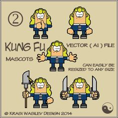 Kung Fu Mascots by Krasi Wasilev  Vector ( ai ) file. Can easily be resized to any size.   Free for commercial use.  This set can be used for your: t-shirts, baby clothing, bags, mugs, water bottles, laptop skins, stickers, greeting cards, invites, flyers, presentations, website illustrations, social networks ... and everything else that your creative imagination can come up with. Give your vision and creativity the freedom they deserve!    http://store.payloadz.com/go/?id=2111102