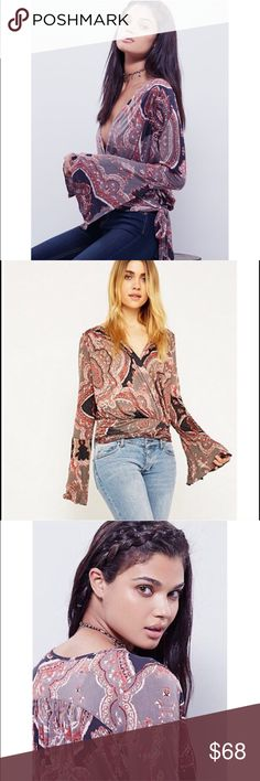 Free people Fiona wrap top NWT This is a fun Fiona wrap top NWT! Size small. Color is black combo but had some fun gray and red/orange designs :) open to offers and bundles!! Free People Tops