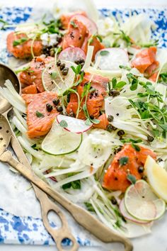 Slow Cooked Salmon With Fresh Fennel And Oregano Salad