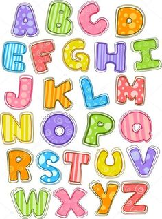 Find Illustration Cute Colorful Alphabet Uppercase stock images in HD and millions of other royalty-free stock photos, illustrations and vectors in the Shutterstock collection. Fonte Alphabet, Bubble Letter Fonts, Pop Couture, Drawing Stars, Photo Quilts, Alphabet And Numbers, Clipart, Illustration, Printables