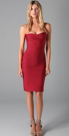 2a5e7dd6c576 Herve Leger hot red strapless bandage dress with exposed back zipper at Le  Dress Boutique