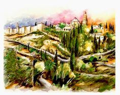Jerusalem - Mount Zion and the Old City Wall    Watercolor by Menahem Lavee