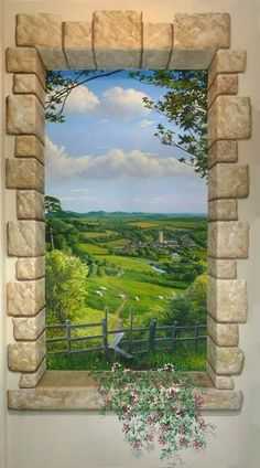 icu ~ Jeff Raum's English Countryside niche in 2019 Window Mural, Mural Wall Art, Window View, Faux Painting, Mural Painting, Japan Painting, Paintings, Graffiti Kunst, Poster Mural