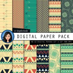 """Tribal digital paper: """"Red, Blue & Green Tribal"""" aztec patterns, tribal backgrounds for scrapbooking, invitations, cards, instant download"""