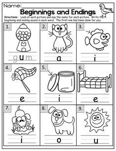 Fall Math and Literacy Packet (Kindergarten)! Kindergarten Language Arts, Kindergarten Worksheets, Kindergarten Classroom, Kindergarten Activities, Preschool, Classroom Decor, Beginning Sounds Worksheets, Phonics Worksheets, Phonics Videos