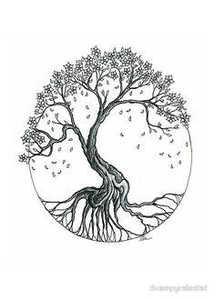 Blossom tree tattoo, tree of life tattoos, circle tattoos, wrist tree tattoo , Tree Roots Tattoo, Tree Tattoo Arm, Blossom Tree Tattoo, Cherry Blossom Tree, Blossom Trees, Cherry Blossom Drawing, Tattoo Life, Tree Of Life Tattoos, Cute Tattoos