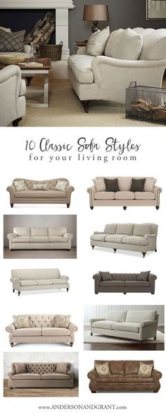 10 Classic Sofa Styles for Your Living Room Overwhelmed when trying to find the perfect sofa for your living room? Check out this post with 10 Classic Sofas that will never go out of style. Living Room Decor On A Budget, Elegant Living Room, Living Room White, New Living Room, Living Room Sofa, Living Room Designs, Living Room Furniture, Furniture Chairs, White Furniture