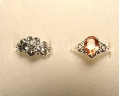 Size 7 Lot of 2 Silver Rings Girls Teen Valentines Present Free Shipping!