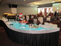 Black, Diamond Ribbon Wrap & Blue.  Menu - Chips, Pineapple Salsa & Cheese Dip, White Cheddar Pierogies, Buffalo Wings & Spring Rolls