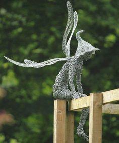 sculpture en fil de fer, magicien rêveur, art contemporain