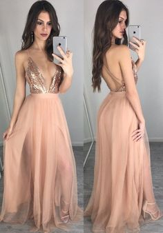 V-neck Floor Length Peach A-line Prom Dress with Pleats Sequins