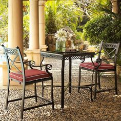 The Crosley Portofino 3 Piece Aluminum Bar Height Bistro Set features two barstools and bar height table.  This bistro set is constructed from heavy duty cast aluminum which is sealed with a non-toxic powder coated finish. The weather-resistant power coating is in a matte charcoal black finish.
