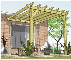 Copyright image: An attached lean-to pergola, made from the step-by-step pergola. - Copyright image: An attached lean-to pergola, made from the step-by-step pergola plans. Diy Pergola, Curved Pergola, Building A Pergola, Pergola Canopy, Metal Pergola, Pergola With Roof, Outdoor Pergola, Wooden Pergola, Backyards