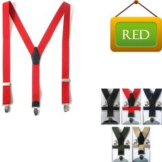 Faux Leather Elastic Suspenders Wide Suit Office Adjustable Clip-On Braces RED #springsummerfallwinter
